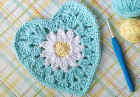 Our Top 5 Free Granny Square Patterns: Daisy Center Granny Heart<br />  by Lauren Brown