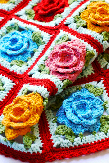 babouska rose crochet blanket