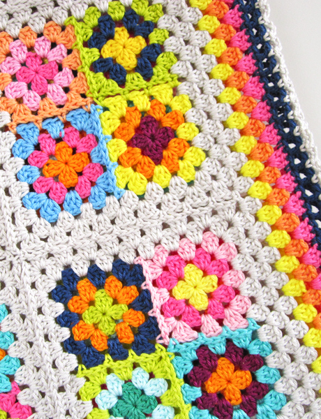 color n cream crochet granny square blanket