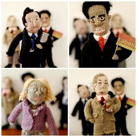 Knitted politicians by Pat Wilson. Images via SWNS