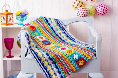 Sampler blanket from LGC Knitting & Crochet issue 72