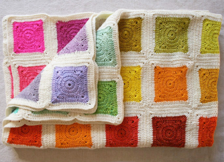 Our Top 5 Free Granny Square Patterns: Bear's Rainbow Blanket<br />  by Purl Soho