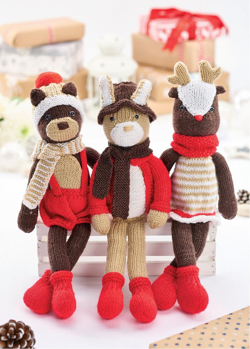 Christmas cuddly toy set | Free Knitting Patterns | Let's ...