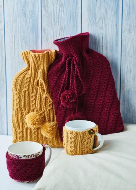 Hot Water Bottle Covers & Mug Cosies | Knitting Patterns ...
