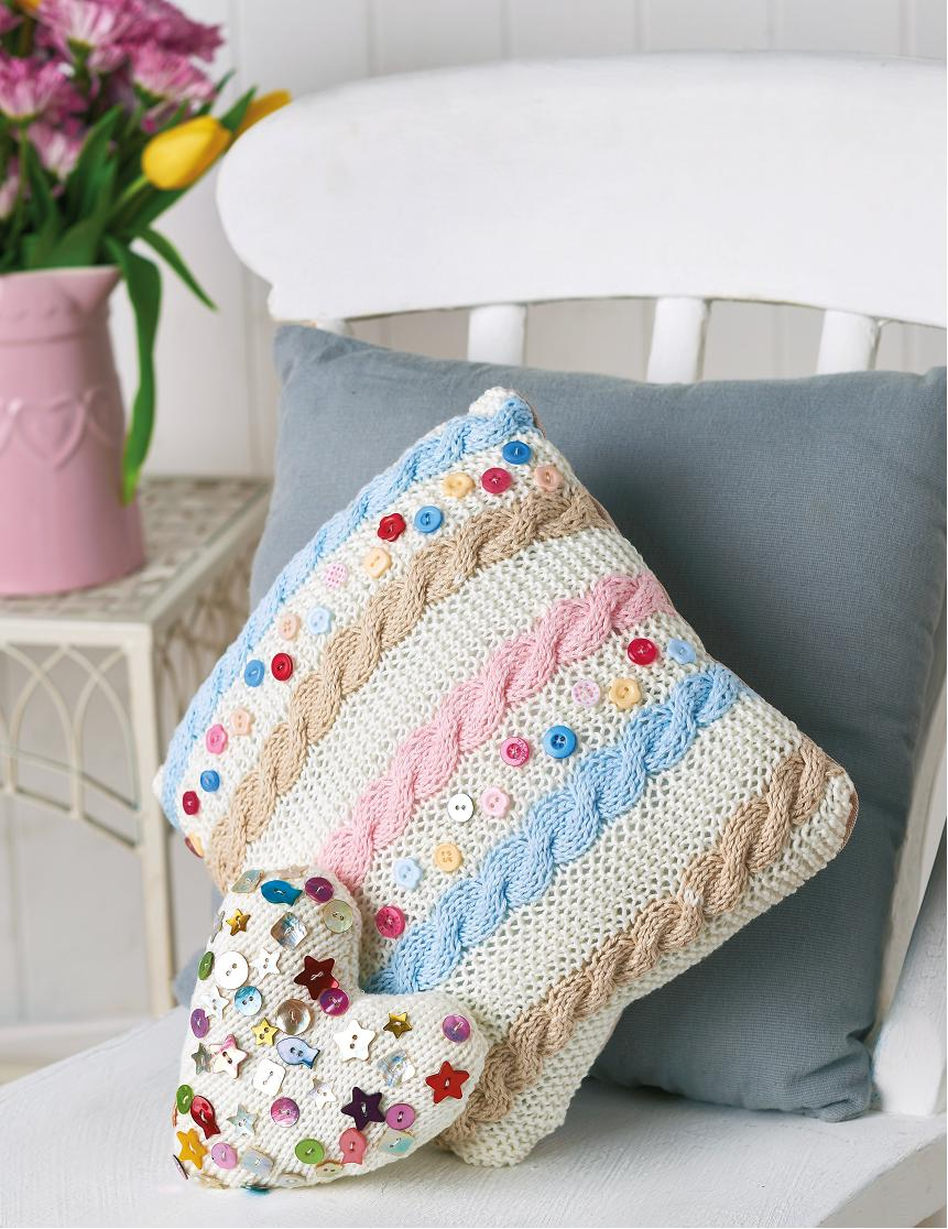 Knitted cushion cover, purse, heart and corsage set | Free ...