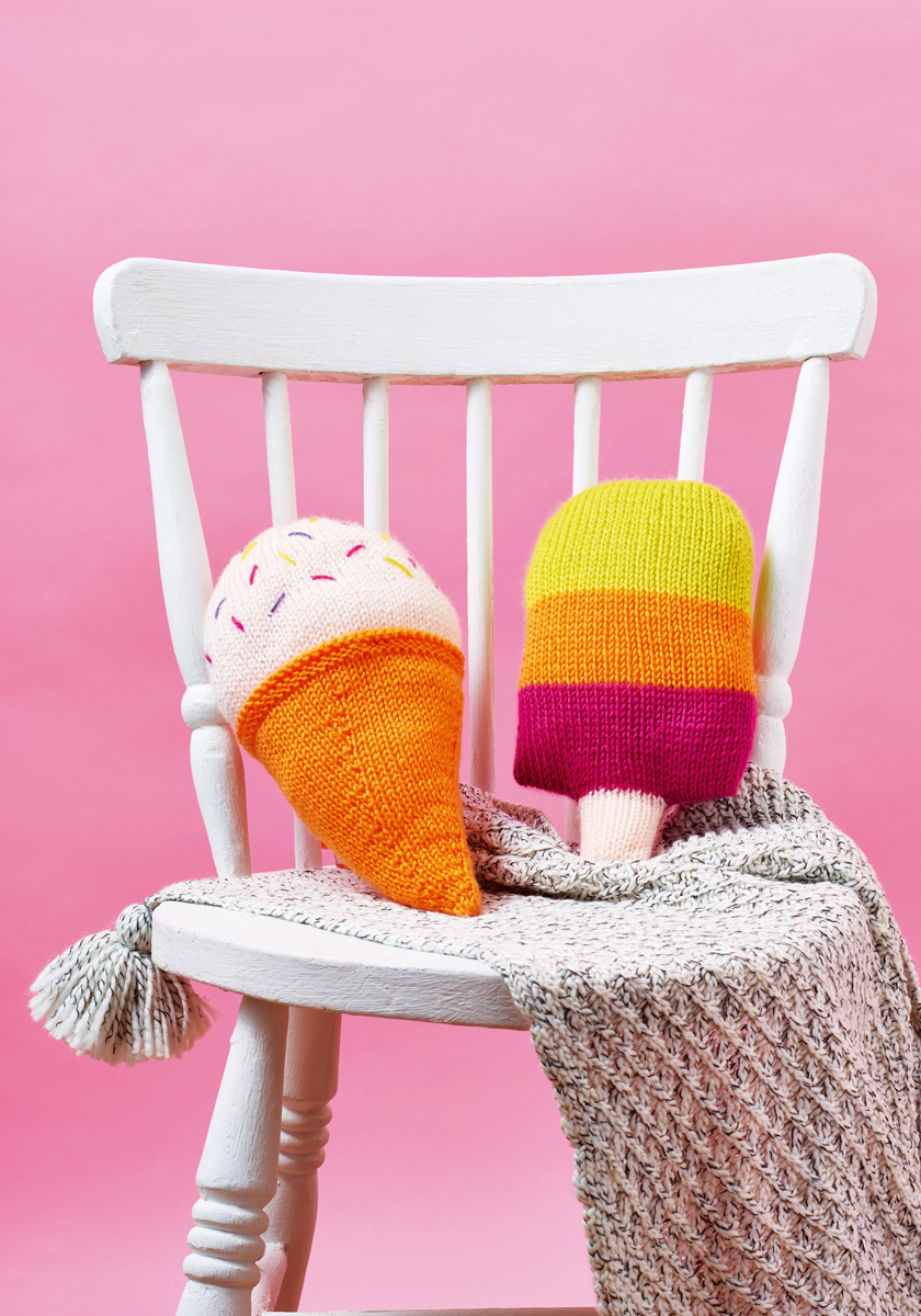 Ice Cream & Ice Lolly Cushions - Free Knitting Patterns - Homewares Patterns