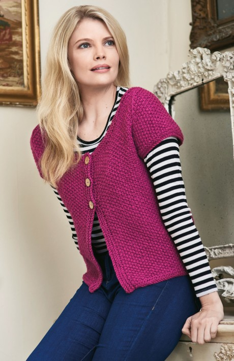 Simple Short Sleeve Cardigan | Knitting Patterns | Let's ...