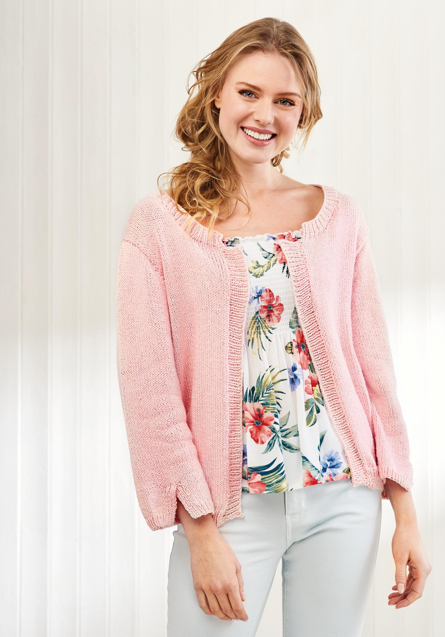 Simple Cotton Cardigan | Free Knitting Patterns | Let's ...