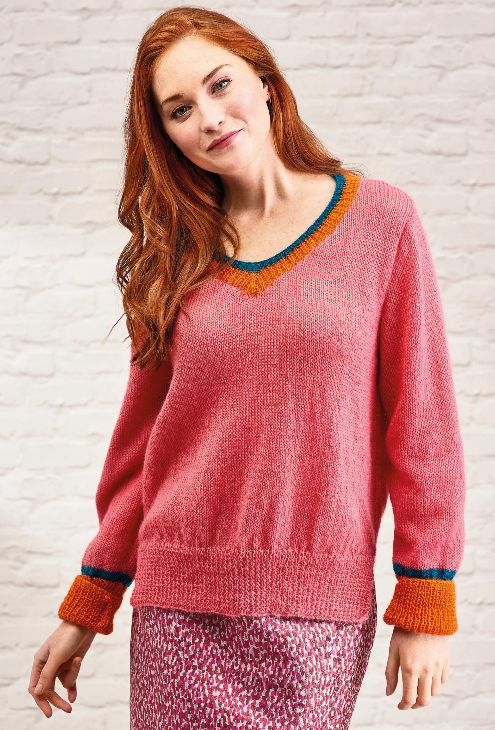 Simple V Neck Jumper   Knitting Patterns   Let's Knit Magazine
