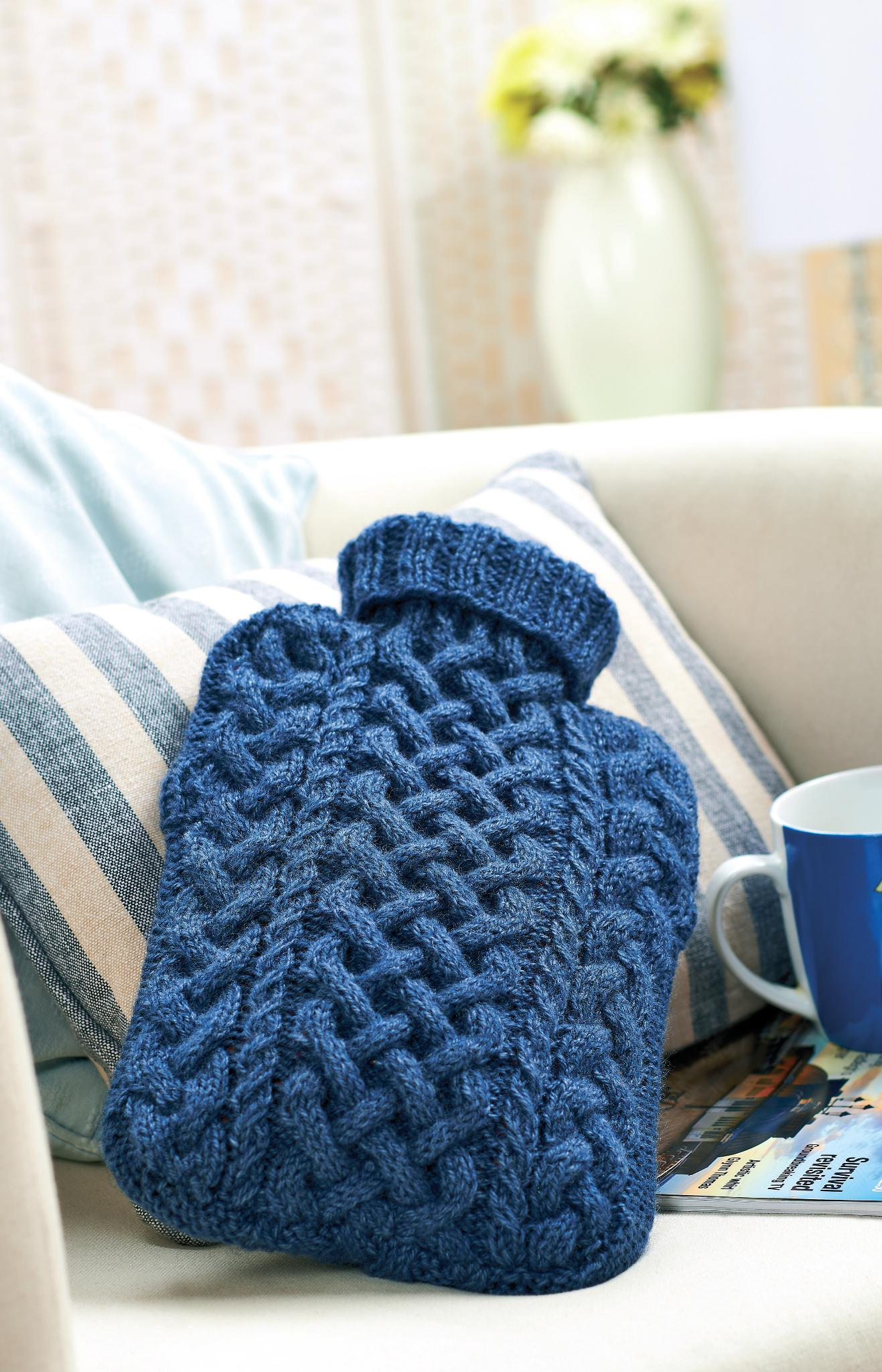 Cabled hot water bottle cover | Knitting Patterns | Let's ...