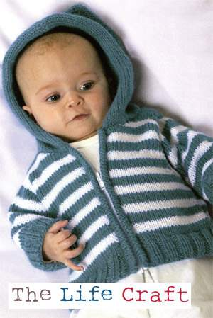 Simple Striped Hoodie Knitting Pattern