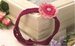 Girl's crocheted flower headband Knitting Pattern
