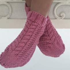 Cabled Slipper Socks Knitting Pattern
