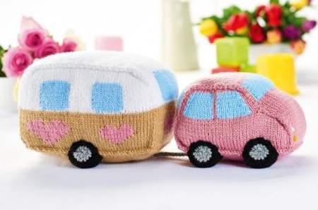 Knitted Car and Caravan Toy Set Knitting Pattern