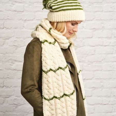 Chunky Stripe Hat and Scarf Knitting Pattern