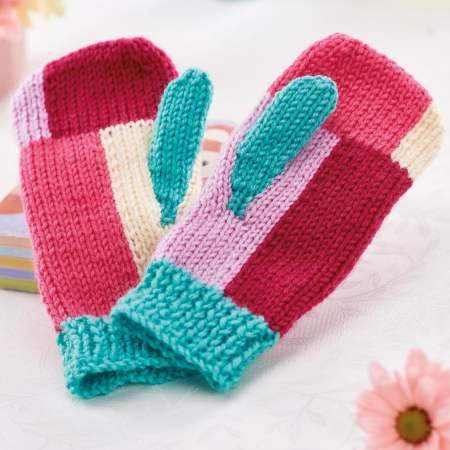 Colour Block Mittens Knitting Pattern