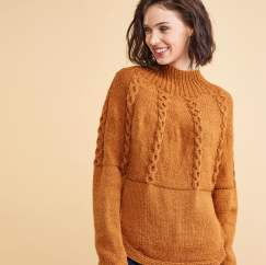 Curved Yoke Cable Sweater Knitting Pattern