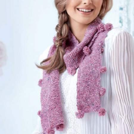Learn to Knit A Pom-pom Scarf! Knitting Pattern