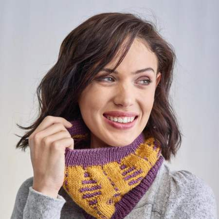 Garter Stitch Detail Cowl Knitting Pattern