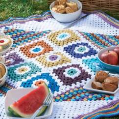 Granny Square Blanket Knitting Pattern