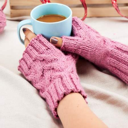 Blacker Swan cabled wristwarmers Knitting Pattern