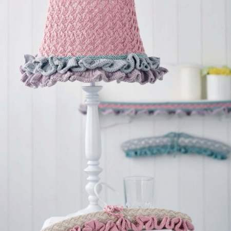 Lace Home Decorations: lampshade, edging and padded hangers Knitting Pattern