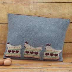 Intarsia Hen Cushion Cover Knitting Pattern
