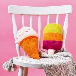 Ice Cream & Ice Lolly Cushions Knitting Pattern