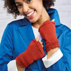 Lace Edge Fingerless Mittens Knitting Pattern