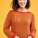 Cable Sweater with Contrast Edge Knitting Pattern