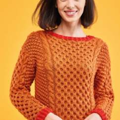 Cable Sweater with Contrast Edge