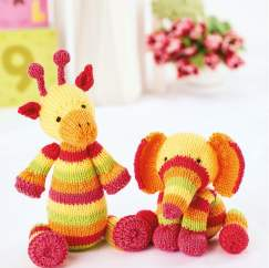 Simple Stripes Toy Elephant and Giraffe Knitting Pattern