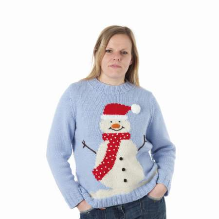 Large Adult Snowman Sweater Knitting Pattern