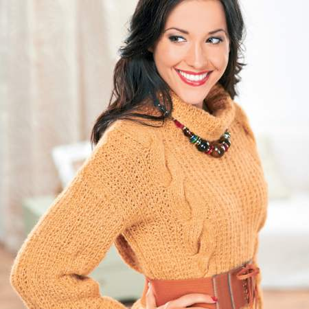 Cowl-neck cabled sweater Knitting Pattern