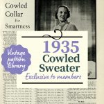 Vintage Pattern: Cowled Collar Sweater Knitting Pattern
