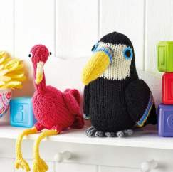 Flamingo and Toucan Toys Knitting Pattern