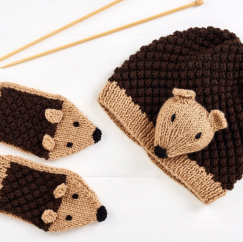 Child's Hedgehog Hat and Mittens Knitting Pattern