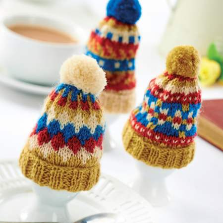 Traditional Tea and Egg Cosy Set With Pom-Poms! Knitting Pattern