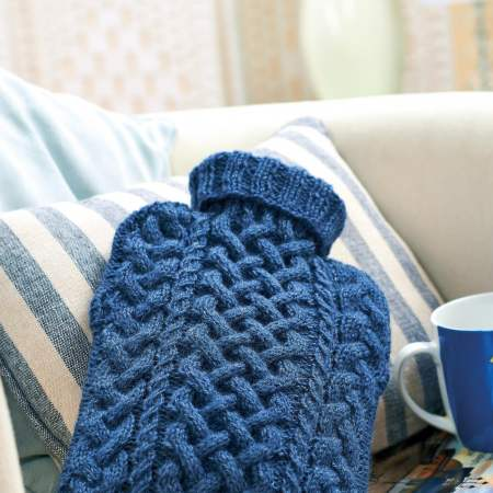 Cabled hot water bottle cover Knitting Pattern