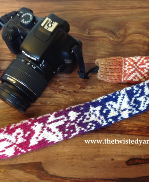 Knit a colourwork camera strap with The Twisted Yarn
