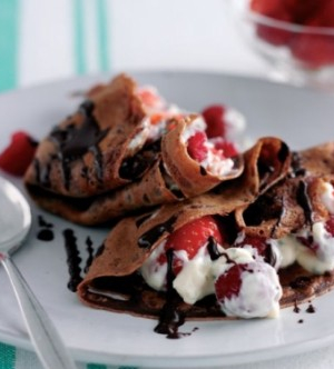 Chocolate Berry Pancakes with Minted Yoghurt