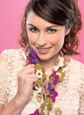 Crochet flower scarf Knitting Pattern