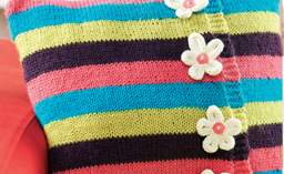 Multi-coloured striped flower cushion Knitting Pattern