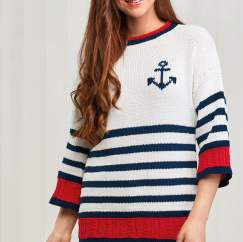 Anchor Motif Nautical Sweater