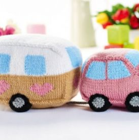 Knitted Car and Caravan Toy Set