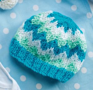 Childrens Chevron Hat Knitting Pattern