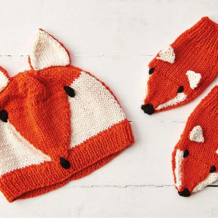 Child's Fox Hat And Mittens Set Knitting Pattern