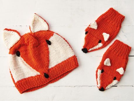Child's Fox Hat And Mittens Set