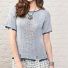 Denim Look Lace Panel T-shirt