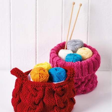 Easy Cable Storage Baskets Knitting Pattern